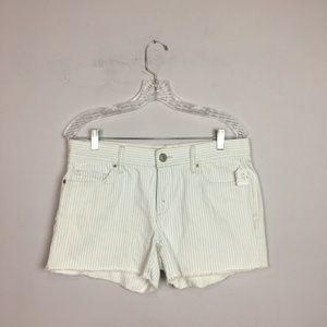 LOFT pin stripe denim shorts white blue size 28